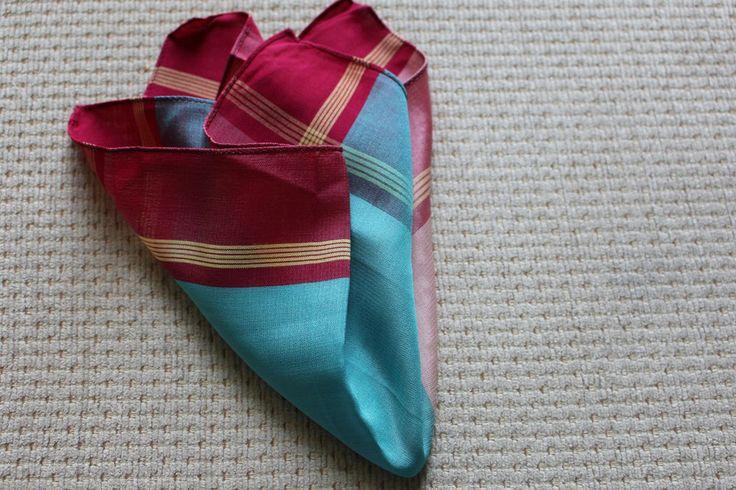vintage pocket square silk blend red / blue plain print mod dandy  hankie new