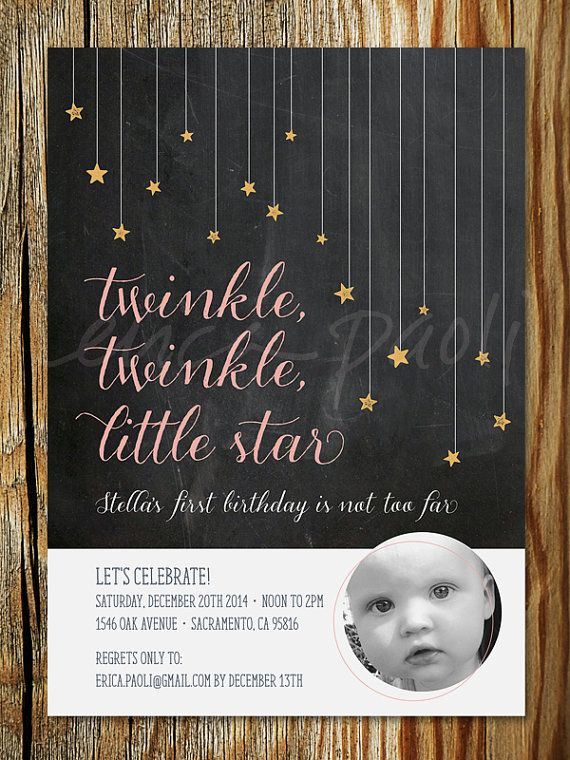 Twinkle Little Star Birthday Invitation Printable First Invite With Photo