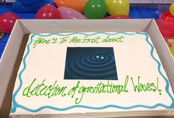News of gravitational wave broken by a sheet cake!!