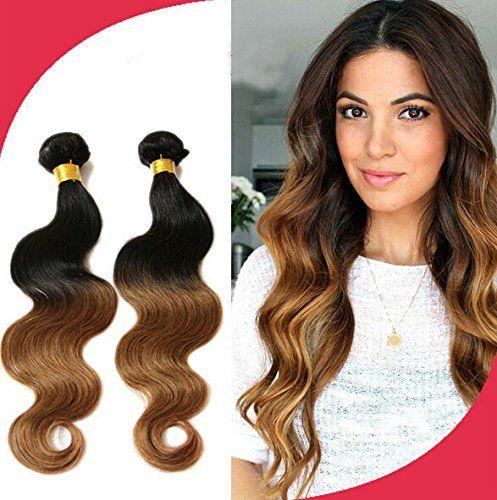 Meilleures ventes! Tissage Bresiliens Ondules Body Waves-Cheveux Vierges 14″16»18» Longueur Mixte 3 Bundles 300grammes, Couleur#1b/30:…
