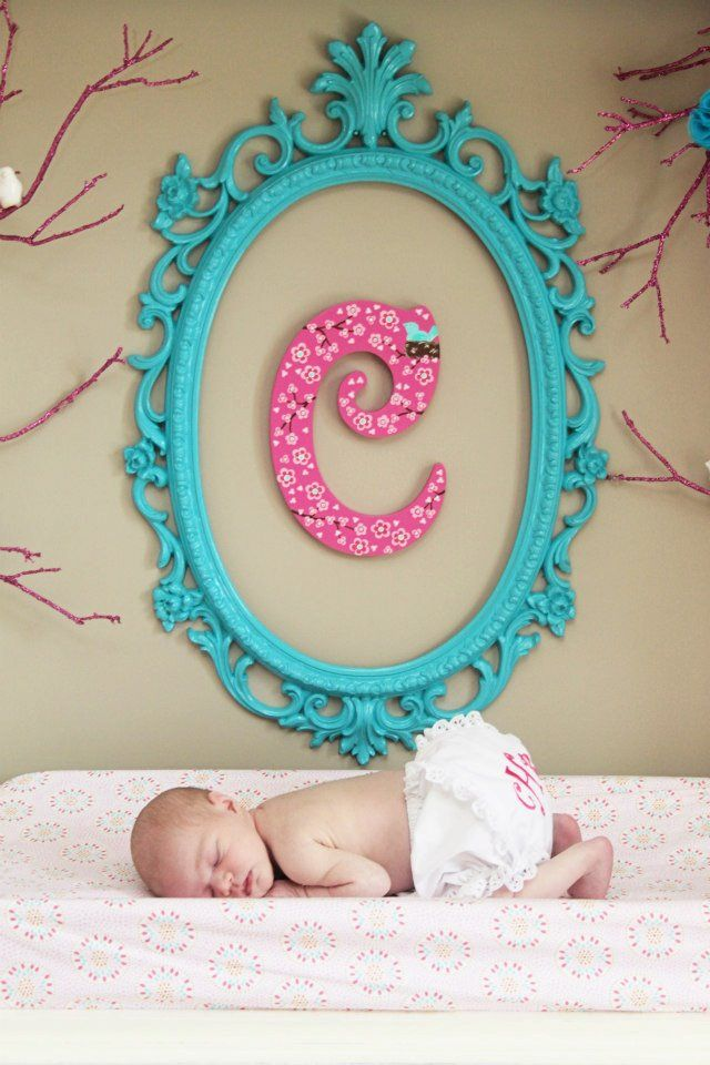 Initial with Teal Blue Frame - #nurserydecor #babygirlSprays Painting, Blue Frames, Scrapbook Covers, Girls Room, Covers Letters, Painted Frame, Baby Room, Painting Frames, Baby Nurseries