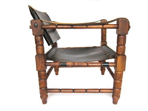 Vintage Safari Chair Black Leather Sling By Pastoria 395 00