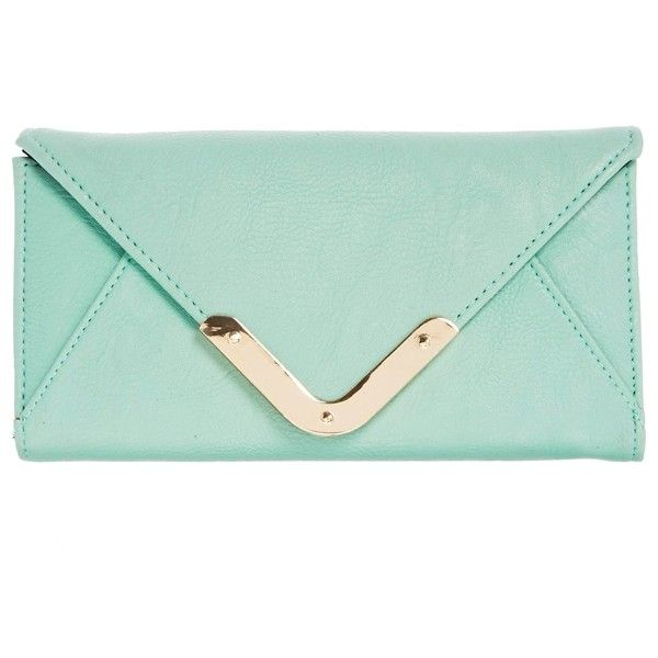 ASOS Envelope Purse with Metal Bar ($19) ❤ liked on Polyvore featuring bags, handbags, clutches, accessories, mint, purses, asos bags, mint bag, mint green bag and zipper bag