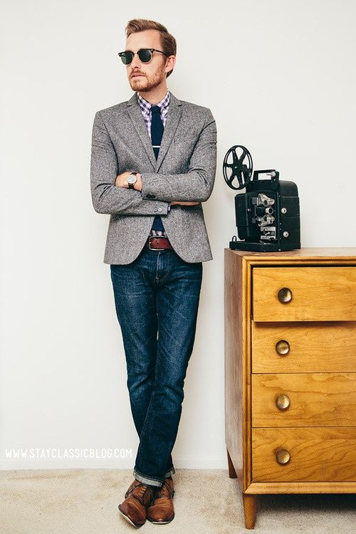 Love This Menu0026#39;s Look. Jeans Plaid And Blazer/jacket. The Brown Hipster Shoes Are Pretty Cool ...