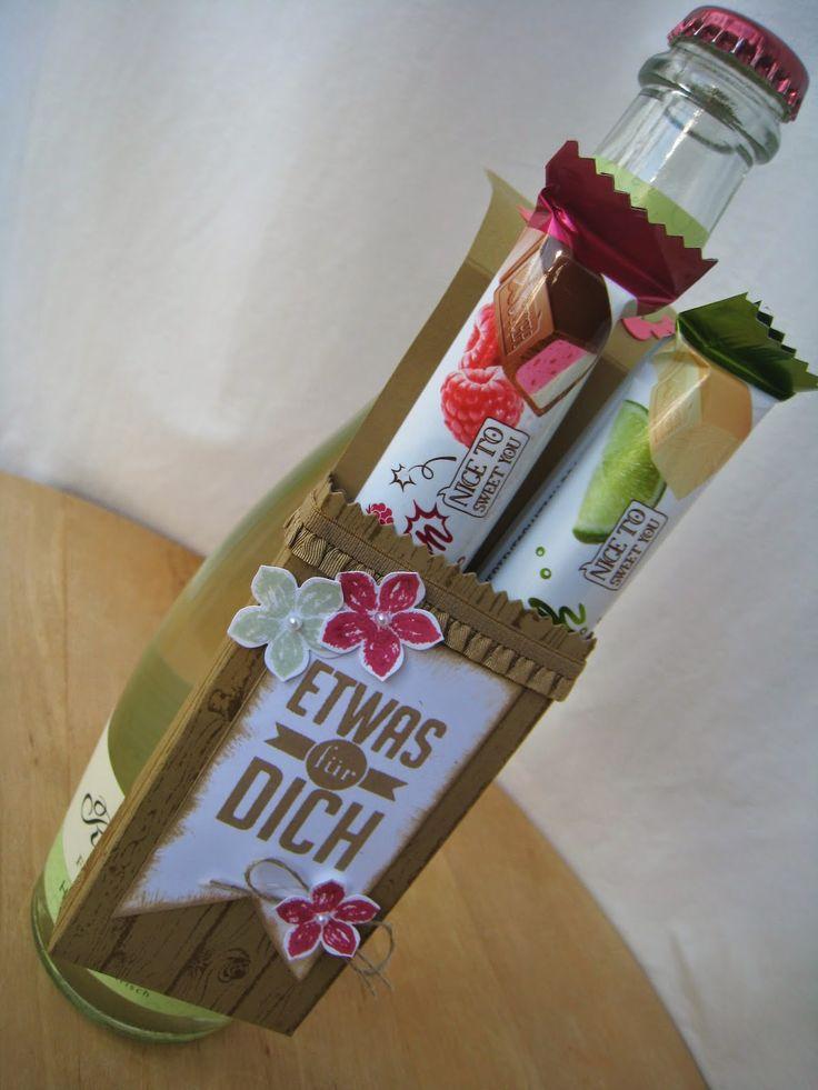 Stoff und Stempel: Sommerlicher Flaschenanhänger
