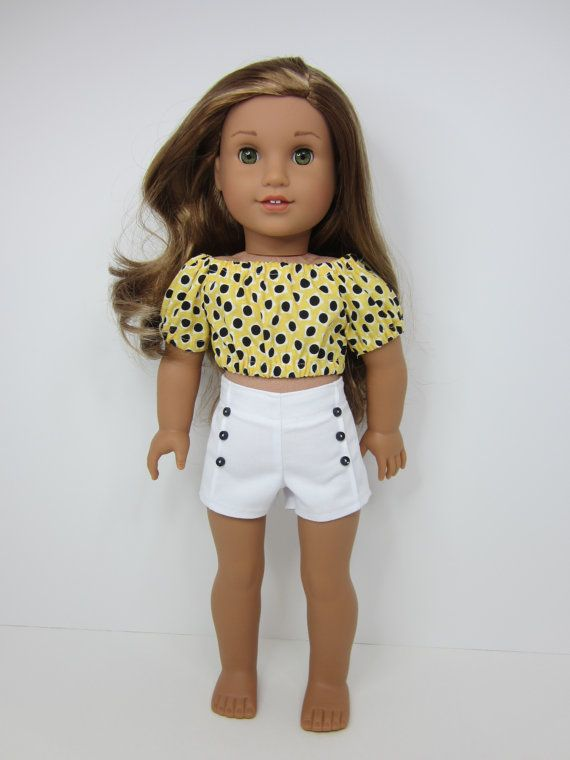 American girl doll clothes - Cute yellow peasant crop top and white pin tuck shorts by JazzyDollDuds.