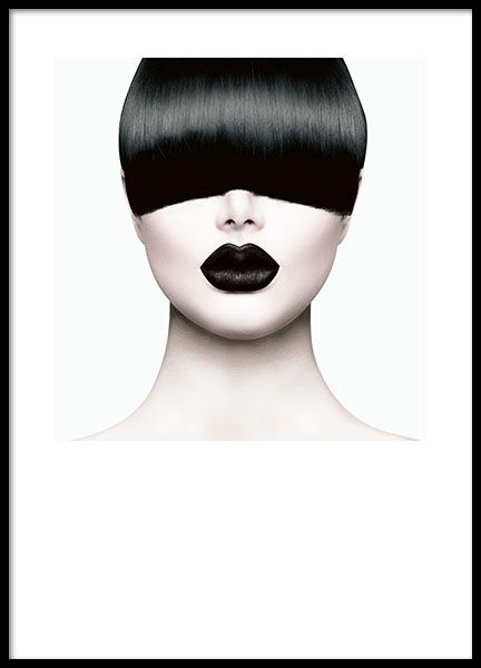 Poster with photograph of a woman with bangs. Stylish and trendy fashion poster that will spice up your home interior! We have several fashion posters and photographs that go well with this poster. www.desenio.com