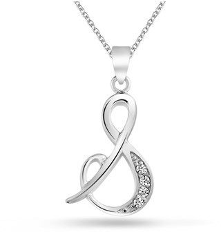 Bling Jewelry Cz Cursive Alphabet Letter S Pendant Rhodium Plated Necklace 16 Inches.