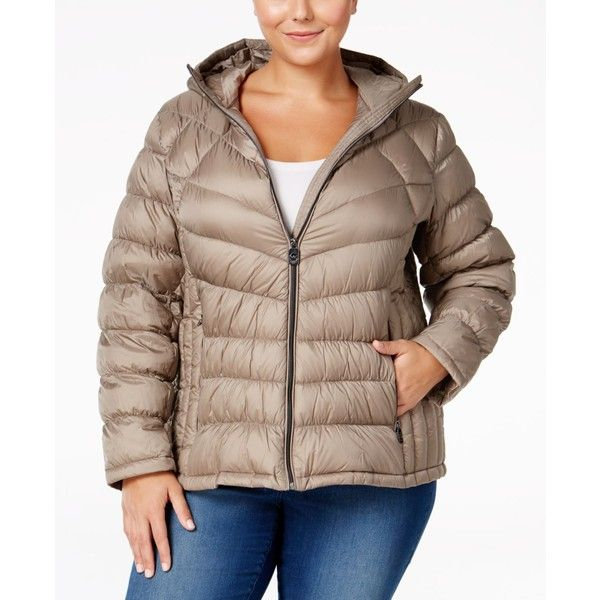 Michael Michael Kors Plus Size Packable Down Hooded Puffer Coat, ($140) ❤ liked on Polyvore featuring plus size women's fashion, plus size clothing, plus size outerwear, plus size coats, taupe, puffy coat, women's plus size coats, hooded puffer coat, plus size puffer coat and lightweight coat