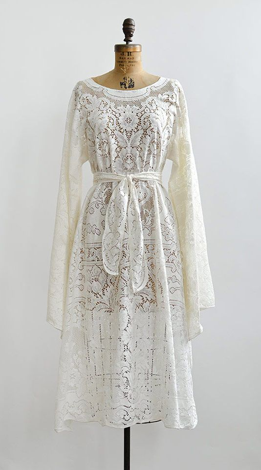 vintage 1970s white sheer lace boho dress from Adored Vintage