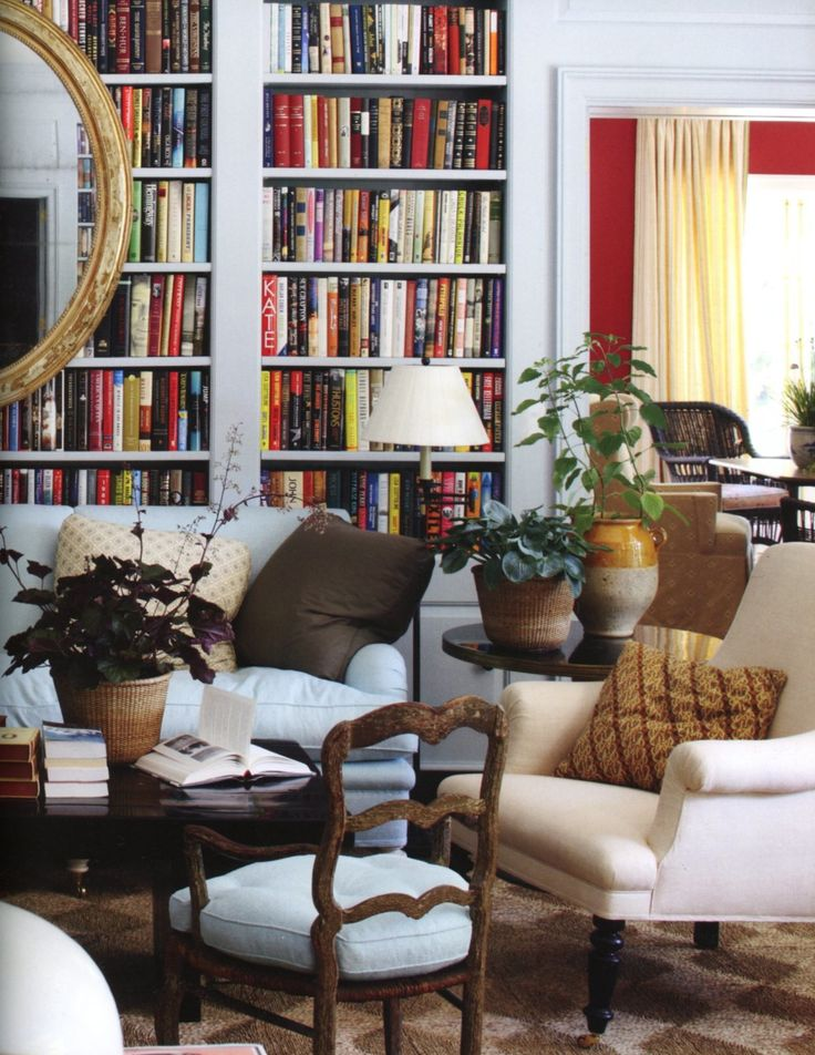 Note Use Of French Chair Like Ours In Living Room/library, Large Mirror On  Bookcase. So Inviting.