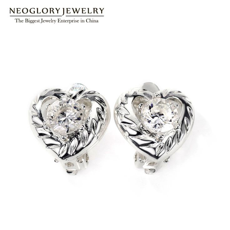 Neoglory Cubic Zirconia Silver Plated Clip White Heart Earrings for Women Love Fashion Jewelry Christmas Gifts 2017 New FA