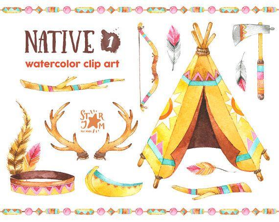 Nativa 1. Imágenes Prediseñadas acuarela, indio, plumas, nativo americano, arco, cornamentas, tribal, saludos, invitación, diy, canoa, wigwam, tipi,