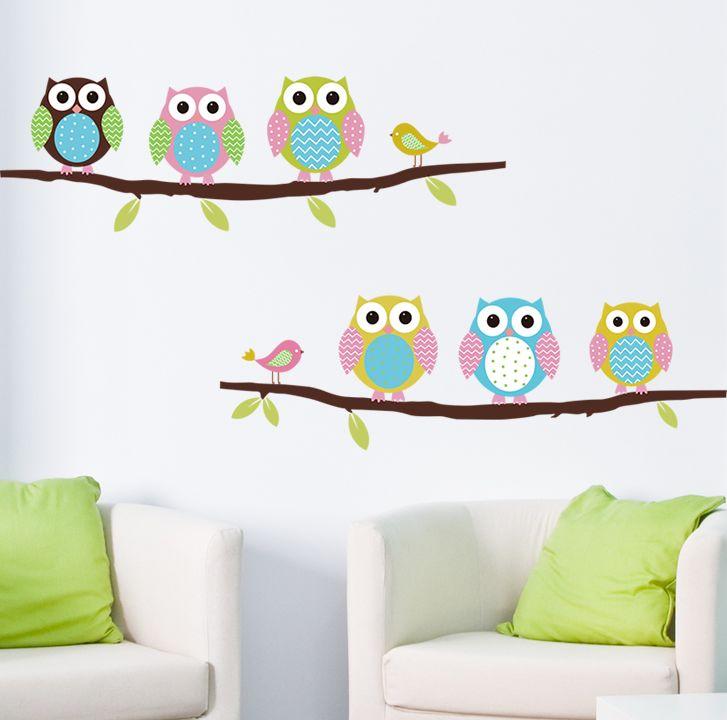 Animal cartoon owl DIY Vinyl Wall Stickers For Kids Rooms Home Decor Art Decals 3D Wallpaper decoration adesivo de parede alishoppbrasil