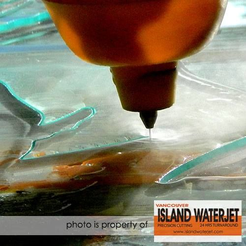 """Vancouver Island Waterjet -- 1/2"""" thick glass cutting for Todd Robinson from Cascadia Glass Studio Port Alberni. Stand off is set higher just so you can see the jet clear while in action. www.islandwaterjet.com  https://www.facebook.com/islandwaterjet/photos/pcb.904820099573908/904806109575307/?type=1"""