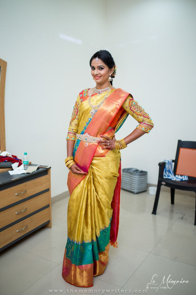 I wore a traditional sari from Prakash in Kanchipuram.The memory writter photography www.shopzters.com