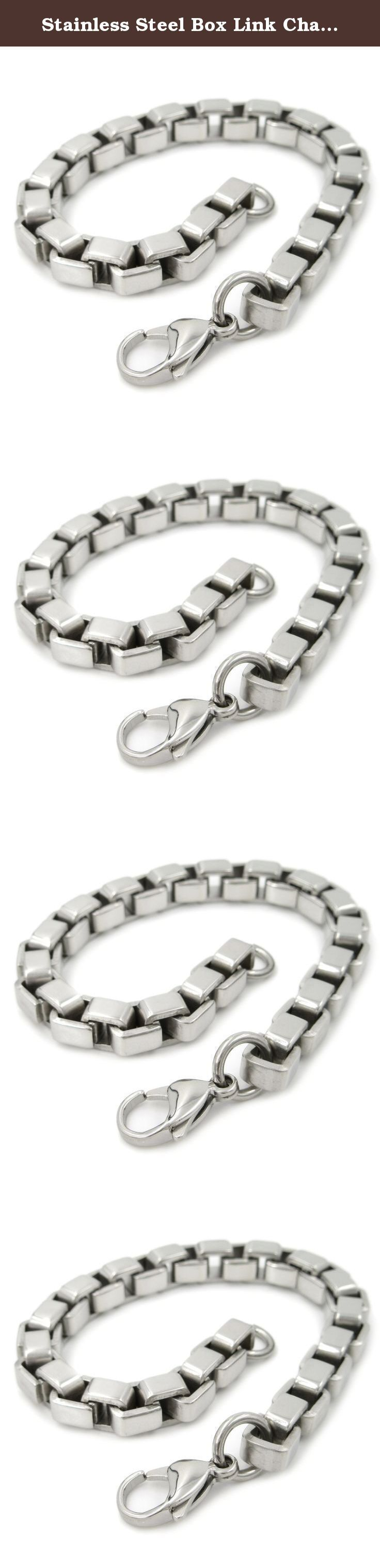 """Stainless Steel Box Link Chain Men Bracelet 8mm 8inch. One stainless steel bracelet. Strong masculine box link chain bracelet, lobster clasp. 8mm wide, fit 8"""" (8 inches) wrist. Comes with a gift bag. ** The coin in the picture is a US quarter dollar for size comparison only and not included."""