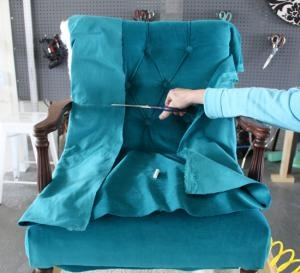 How to reupholstery the inside back of a chair by ModHomeEc