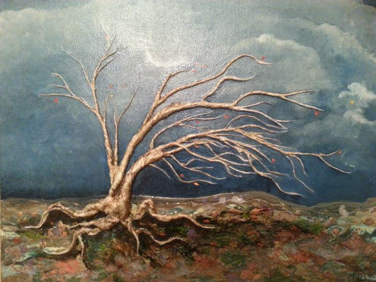 Technique mixte relief sculpté  L'arbre qui plie ne casse pas   Nathalie Dupuis artiste peintre ImagieDéco