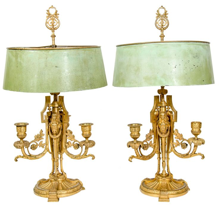 Pair Of Exceptional Antique French Louis XVI Style Gilt Bronze Bouillotte  Lamps