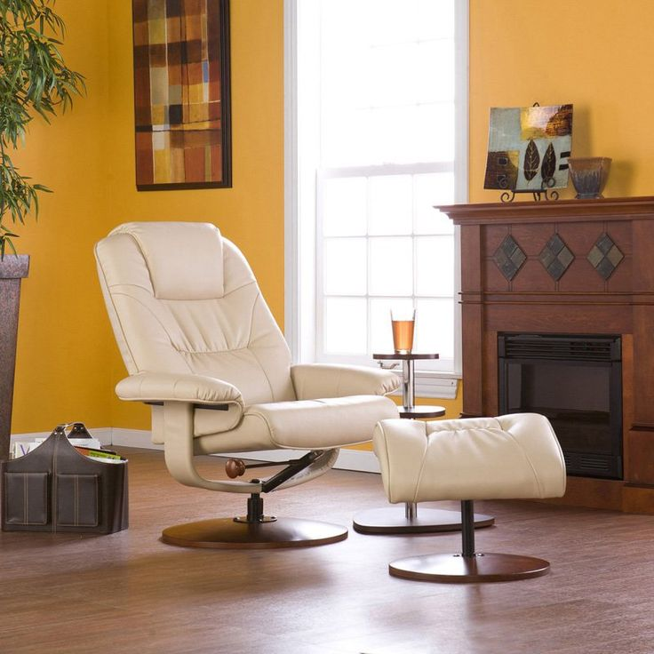 southern enterprises leather wingback recliner with ottoman taupe up4932rc
