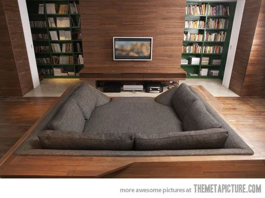 Movie pit or sunken bed couch love it media theater game room basements pinterest Couch and bed