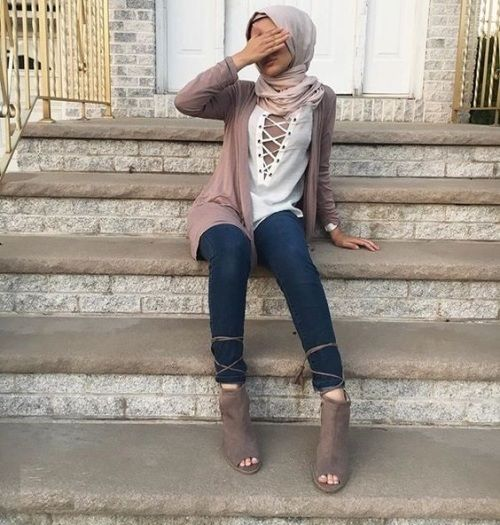 Blush cardigan with lace up sweater hijan-How to be elegant hijabista – Just Trendy Girls