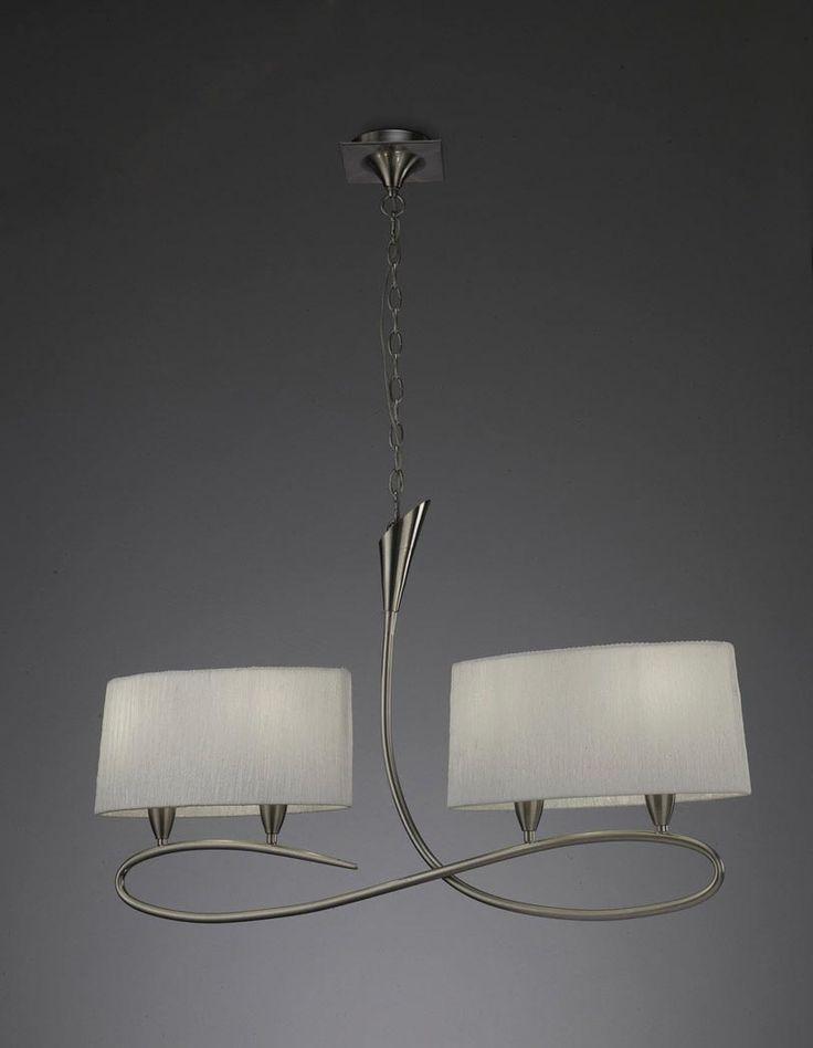 Lámpara lineal blanco níquel LUA 4 luces - La Casa de la Lámpara