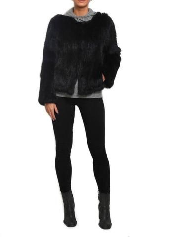 Fur 5 Eight Black Knitted Rabbit Fur Jacket