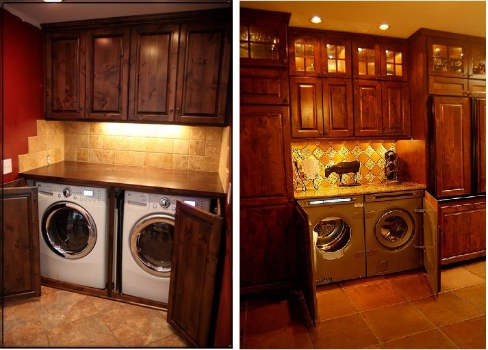 Dark cabinetry enclosing washer and dryer you could put for Kitchen cabinet washing machine