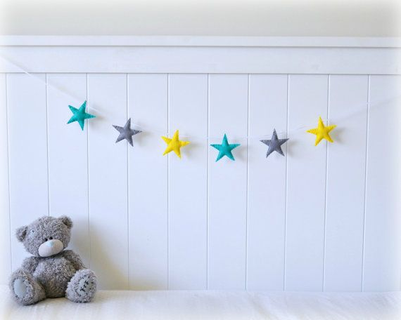 Star garland  mini felt star banner  turquoise, yellow and gray by LullabyMobiles,