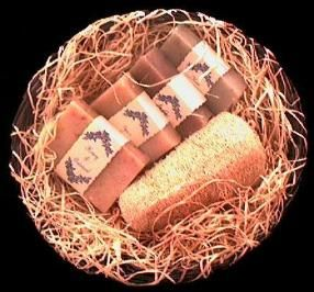 The Vegetable Cart - A Natural Loofah and 4 bars of our natural soaps in a woven basket. Gifts, Samplers, and Shaving Soaps