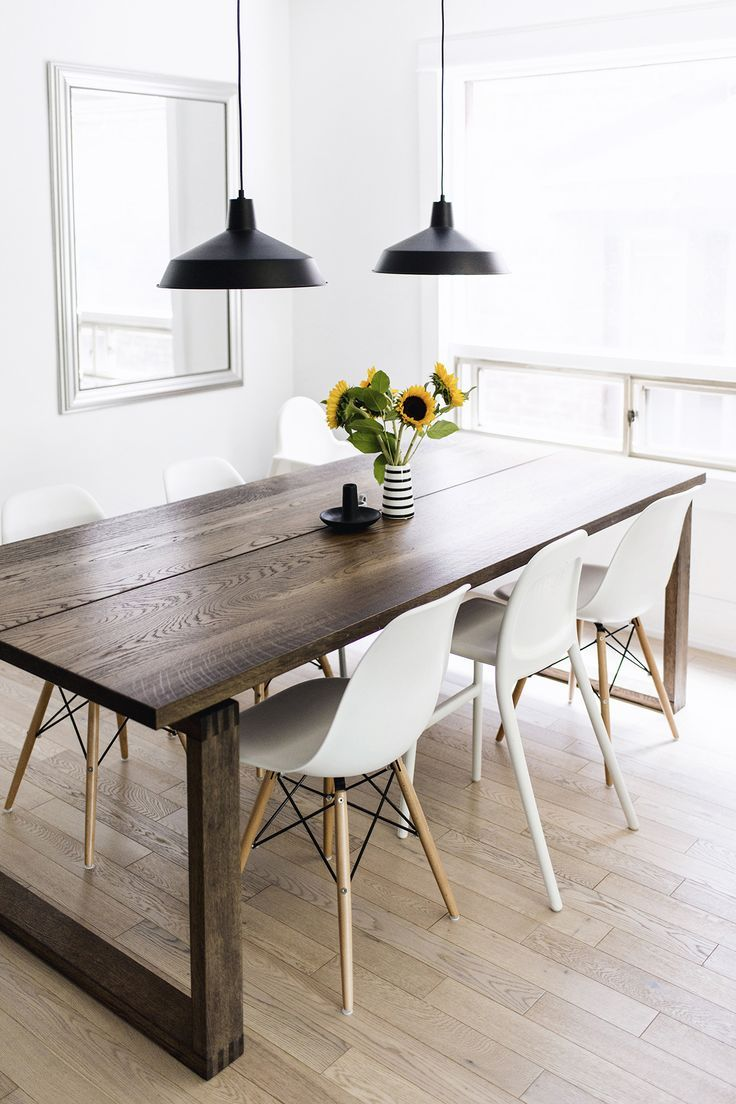Scandinavian-inspired dining room - Mörbylånga table, Eames chairs, black warehouse pendant lamps | Happy Grey Lucky