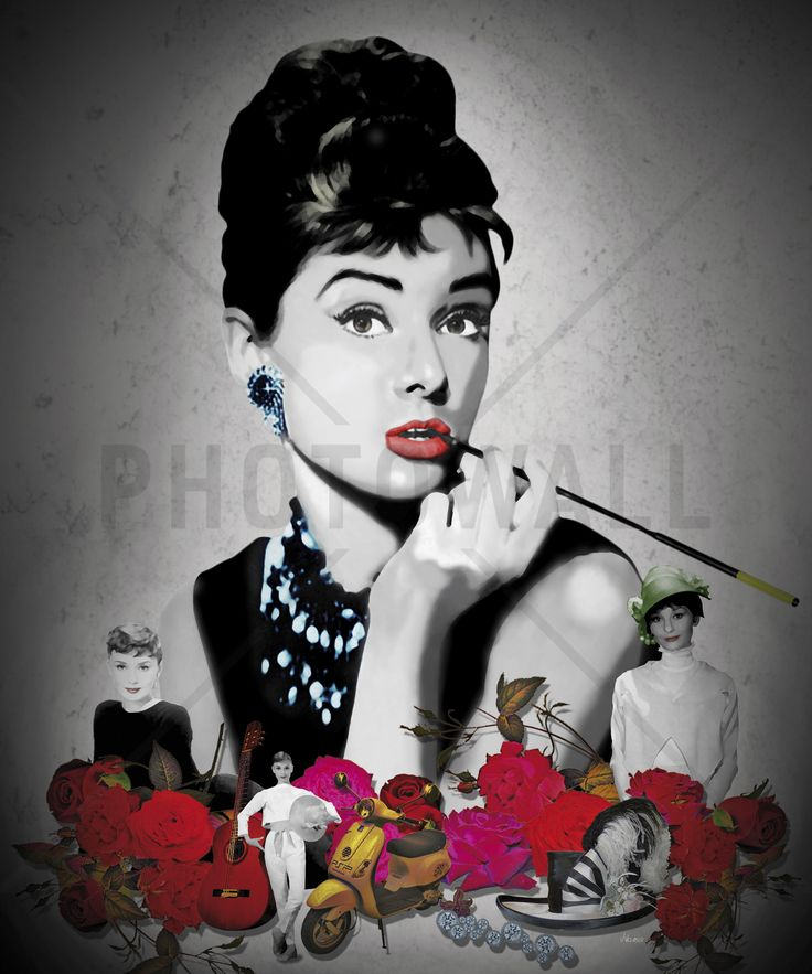 Hepburn - Black - Fototapeter & Tapeter - Photowall