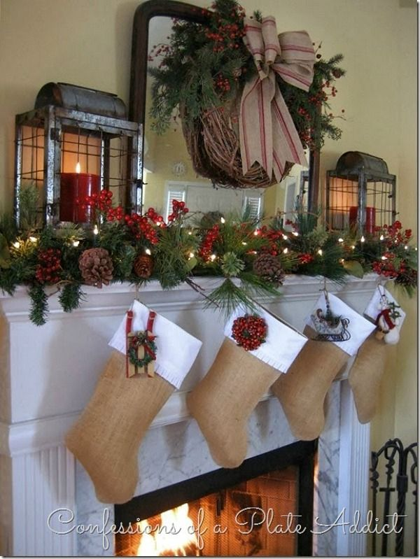 Decorate your home with this gorgeous Farmhouse Christmas Mantel complete with lanterns for a rustic Christmas! Visit our 100 Days of Homemade Holiday Inspiration for more recipes, decorating ideas, crafts, homemade gift ideas and much more!