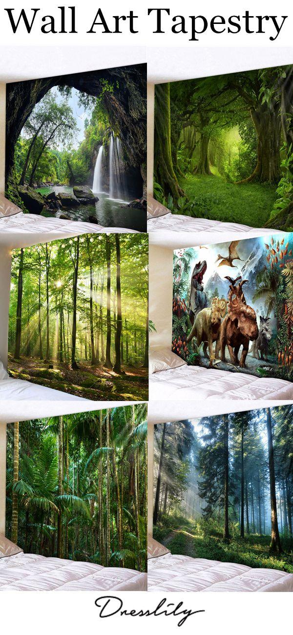 02832fa8d0 Deep Forest Waterfall Scenery Printed Wall Art Tapestry.  dresslily  wallart   homedecor