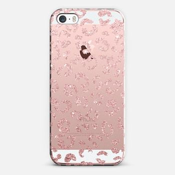 Modern faux pink rose gold glitter hand drawn leopard pattern by Girly Trend