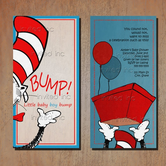cat in the hat baby shower by invitedinc on etsy