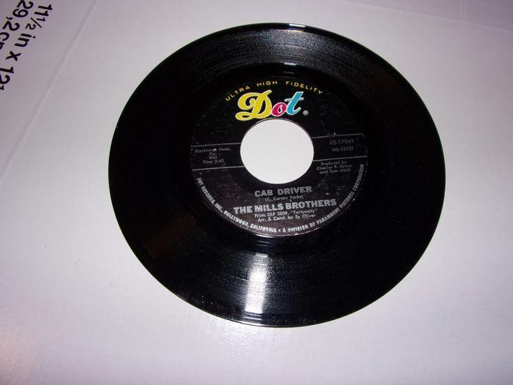"45"" The Mills Brothers: Cab Driver / Fortuosity / 1968 / VG #1960sEasyListeningFolkPopPopRockSoftRock"