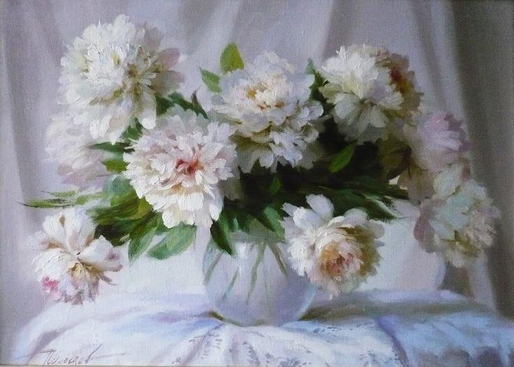 художник  Николаев Юрий,  Белые пионы