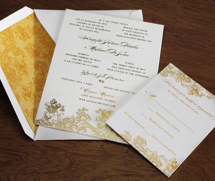 Floral Lace Vintage Design In Gold Foil With Stunning Matching Envelope  Liner And Rsvp Card. Letterpress Wedding InvitationsWedding ...