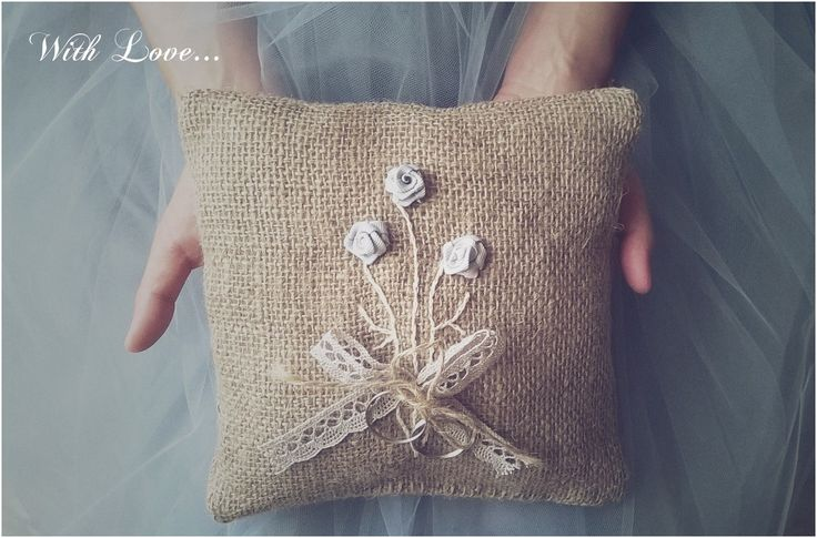 Jute Wedding Ring Pillow - outstanding outdoor wedding ideas!