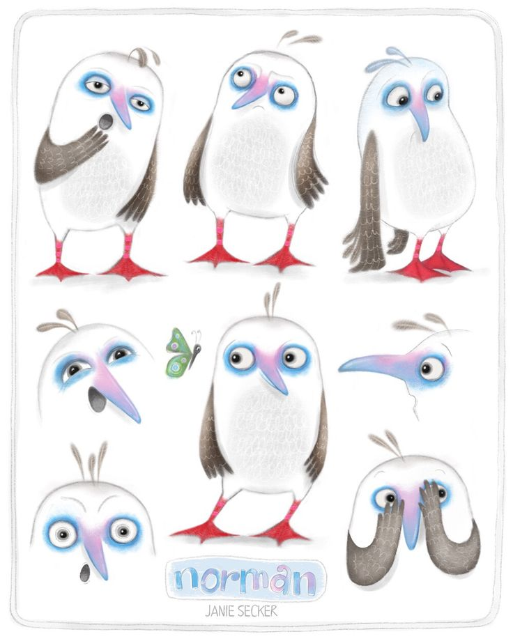 Study of emotions for Norman, the Red Footed Booby Bird - the Great Adventure. MATS Children's Book Illustration course.
