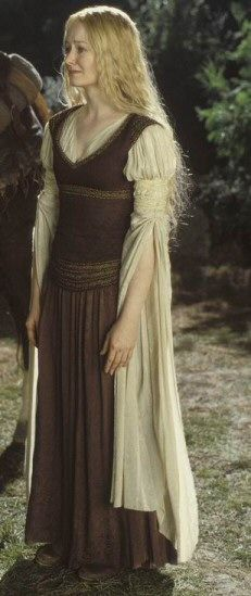 Eowyn's Shield maiden outfit with brown corset. From Lord of the Rings