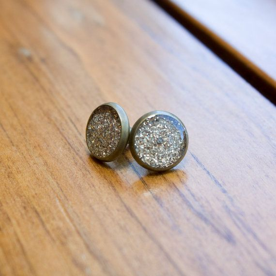 Sparkly Resin Filled Stud Earrings  Antique Bronze  by HowlOwl.