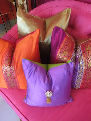 Silk, embellished, India inspired pillows