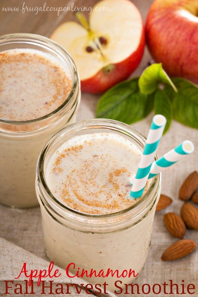 Healthy Apple Cinnamon Smoothie from Frugal Coupon Living. Mix with protein powder if you desire. Great Aplle Reicpe for Fall. http://www.frugalcouponliving.com/2014/10/11/healthy-apple-cinnamon-smoothie/