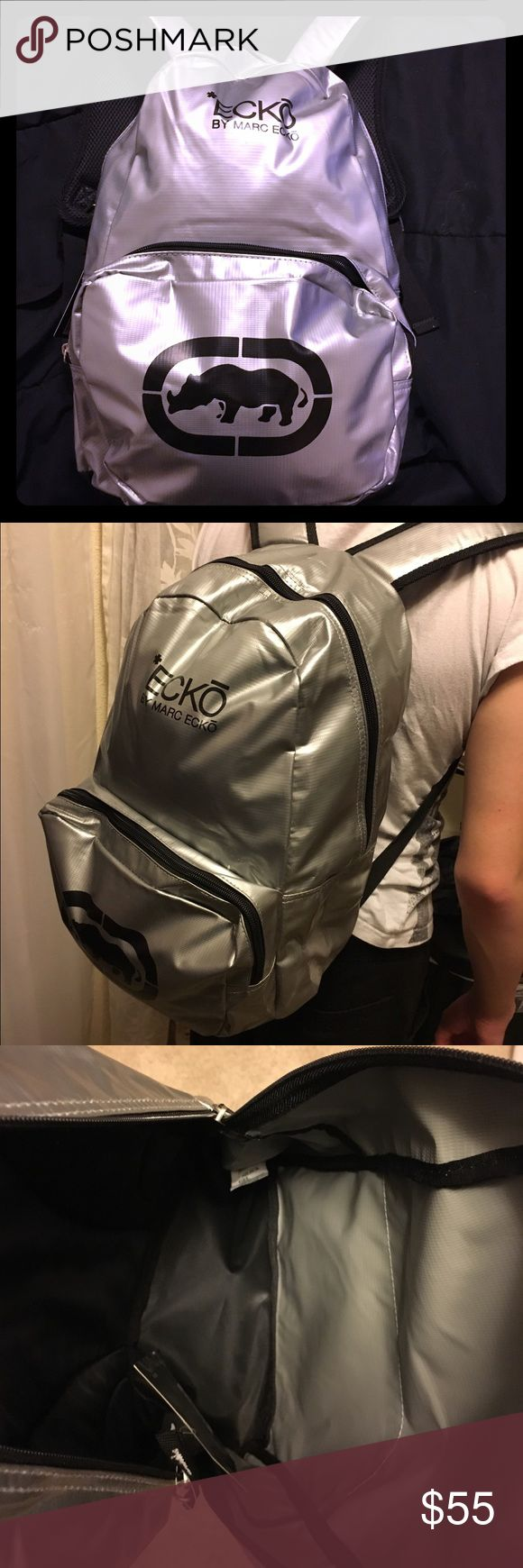 Google themes ecko - Silver Ecko Backpack Marc Ecko Back Pack Bag In Silver In Black Never Used Ecko