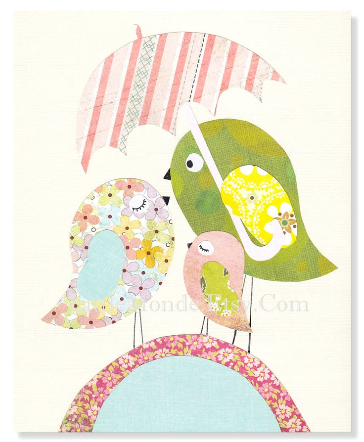 "The Pink Bird Family,  Personalized 8x10"" Nursery Print, Baby Girl Room Decor, Nursery Art, Animal Art, Little Birds Illustration, Pastels"