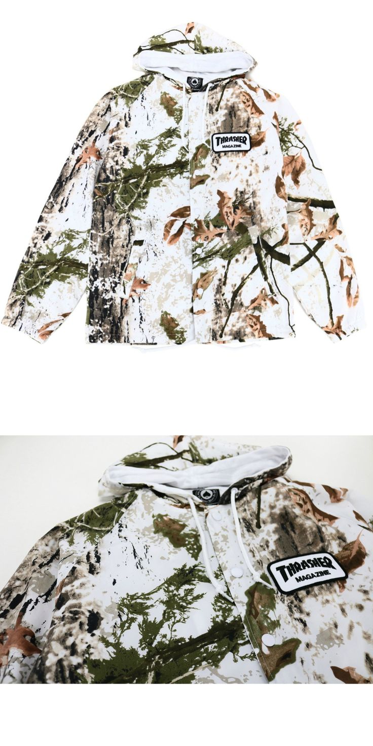 Men 159067: New W Tags Thrasher Skateboard Mag Patch Hooded Coach Jacket (Snow Camo) Small -> BUY IT NOW ONLY: $69.99 on eBay!
